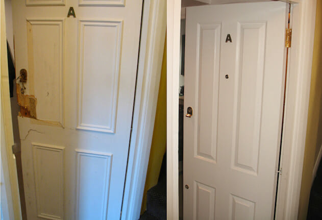 burglary repair interior door - before and after